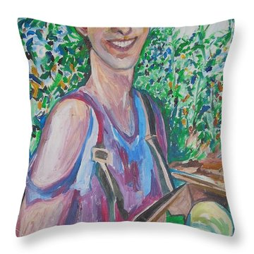 The Apple Picker Throw Pillow by Esther Newman-Cohen