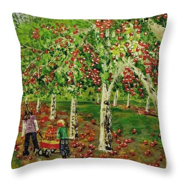 The Apple Pickers Throw Pillow