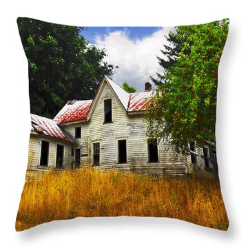The Apple Tree On The Hill Throw Pillow by Debra and Dave Vanderlaan