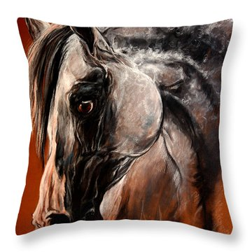 The Arabian Horse Throw Pillow by Angel  Tarantella
