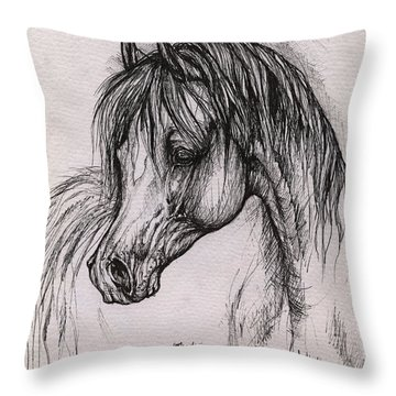The Arabian Horse With Thick Mane Throw Pillow by Angel  Tarantella