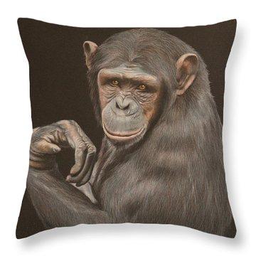 The Arm Wrestler - Chimpanzee Throw Pillow