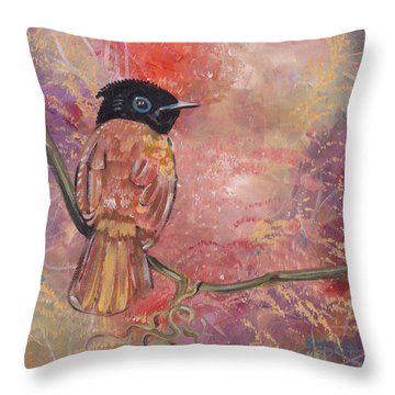 Throw Pillow featuring the painting The Arrival Of Spring by John Keaton