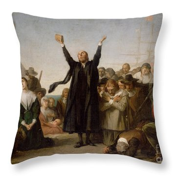 The Arrival Of The Pilgrim Fathers Throw Pillow by Antonio Gisbert