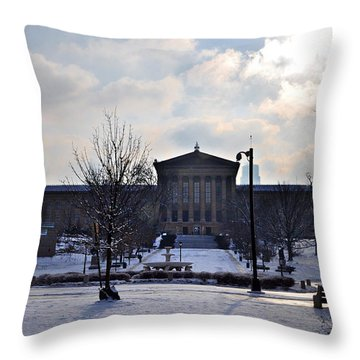 The Art Museum In The Snow Throw Pillow by Bill Cannon