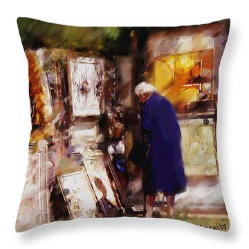 Throw Pillow featuring the painting The Art Show by Ted Azriel
