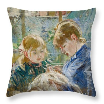 The Artists Daughter Throw Pillow by Berthe Morisot
