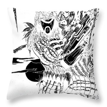 The Assassin Invert Throw Pillow by Justin Moore