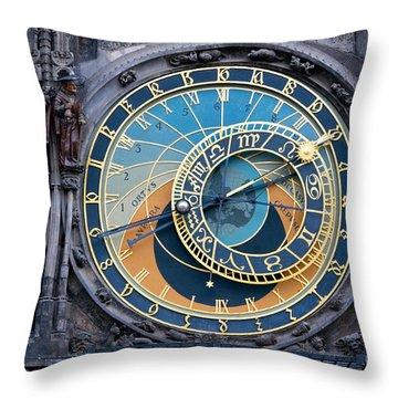 The Astronomical Clock In Prague Throw Pillow by Michal Bednarek