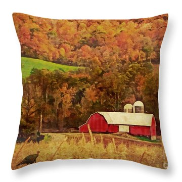 Throw Pillow featuring the digital art The Autumn Barn by Lianne Schneider