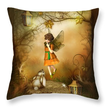 Throw Pillow featuring the digital art The Autumn Fairy by Jayne Wilson
