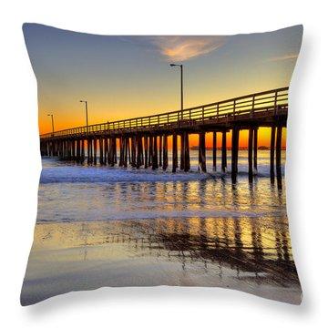 The Avila Beach Pier At Sunset Throw Pillow