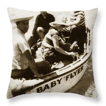 The Baby Flyer With Ed Ricketts And John Steinbeck  In Sea Of Cortez  1940 Throw Pillow