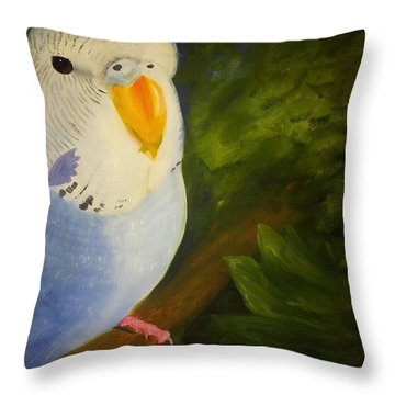 The Baby Parakeet - Budgie Throw Pillow