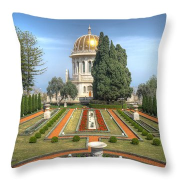 The Bahai Gardens Throw Pillow