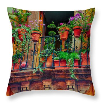 The Balcony Garden Throw Pillow by Nicola Fiscarelli
