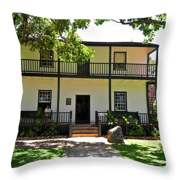 The Baldwin House In Lahaina I Throw Pillow by Kirsten Giving