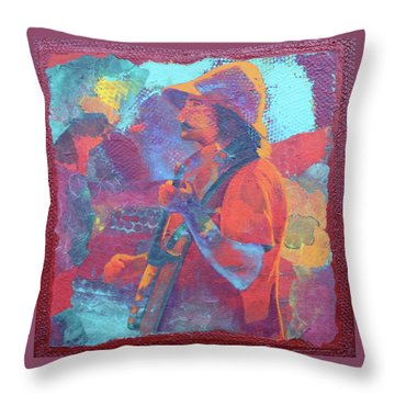 Throw Pillow featuring the painting The Banjo Player by Nancy Jolley
