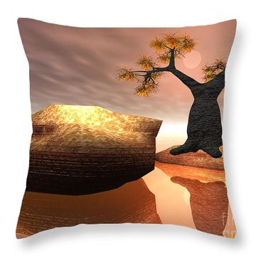 Throw Pillow featuring the digital art The Baobab Tree by Jacqueline Lloyd