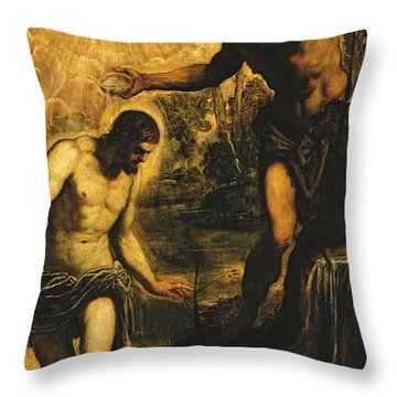 The Baptism Of Christ Throw Pillow by Jacopo Robusti Tintoretto