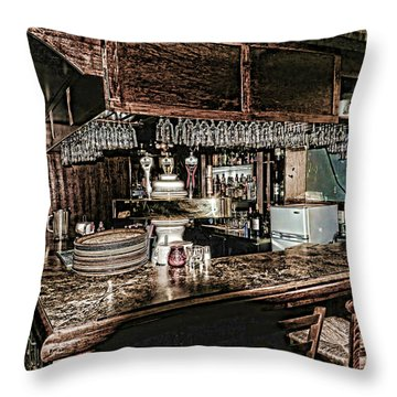 The Bar In The Black Forest Harrison Hot Springs Bc Throw Pillow by Lawrence Christopher