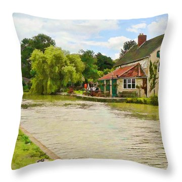 The Barge Inn Seend Throw Pillow
