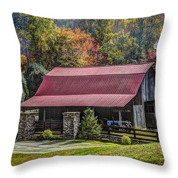 The Barn At Cherry Log Throw Pillow