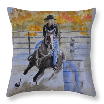 The Barrel Race Throw Pillow by Warren Thompson