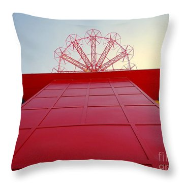 The Base Of The Parachute Jump Throw Pillow by Ed Weidman