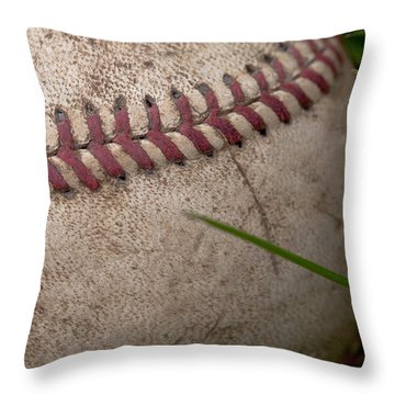 The Baseball Throw Pillow by David Patterson