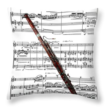 The Bassoon Throw Pillow by Ron Davidson