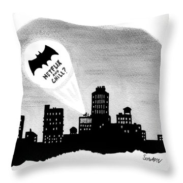 The Bat Signal Says Netflix And Chill? Throw Pillow