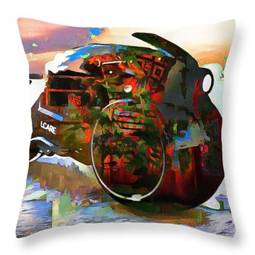 Throw Pillow featuring the digital art The Batcycle In Abstract by Mario Carini