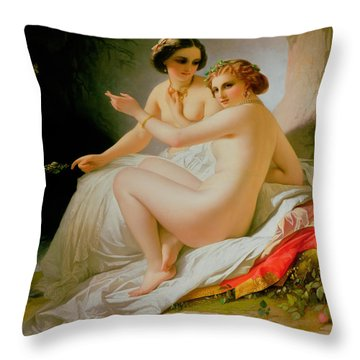 The Bathers Throw Pillow by Louis Hersent