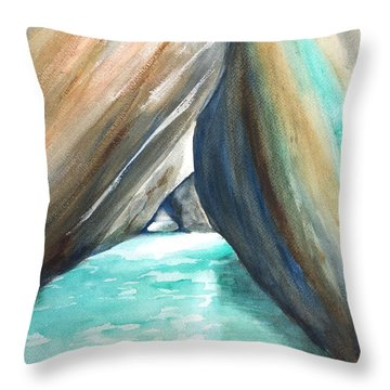 The Baths Turquoise Throw Pillow