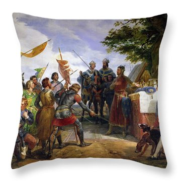 The Battle Of Bouvines Throw Pillow by Emile Jean Horace Vernet