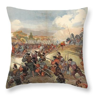 The Battle Of Cerisole, Illustration Throw Pillow
