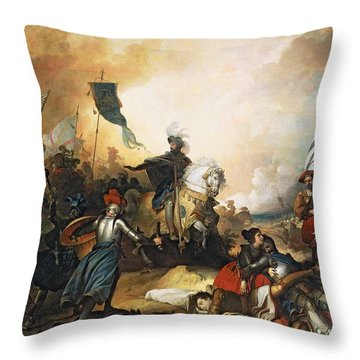 The Battle Of Marignan, 14th September 1515, 1836 Oil On Canvas Throw Pillow