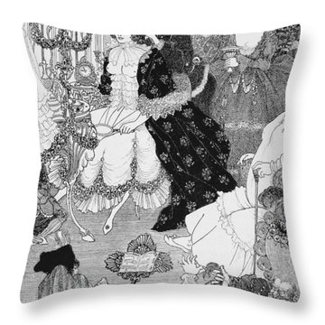 The Battle Of The Beaux And The Belles Throw Pillow by Aubrey Beardsley