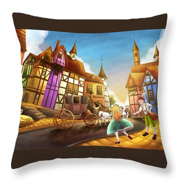 The Bavarian Village Throw Pillow