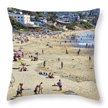 The Beach At Laguna Throw Pillow by Kelley King