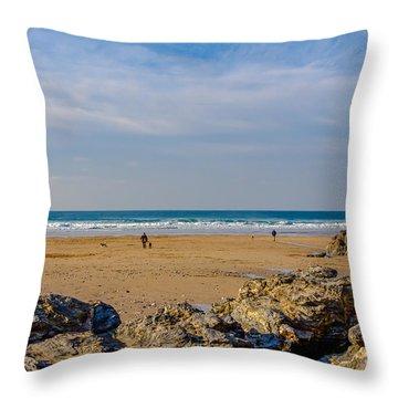 The Beach At Porthtowan Cornwall Throw Pillow by Brian Roscorla
