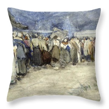 The Beach Berck Sur Mer Throw Pillow by Patty Townsend Johnson