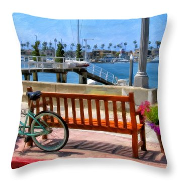 The Beach Cruiser Throw Pillow