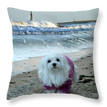 The Beach In Winter Throw Pillow by Morag Bates