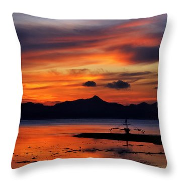 The Beach Throw Pillow by John Swartz