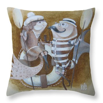 Throw Pillow featuring the painting The Beach by Marina Gnetetsky