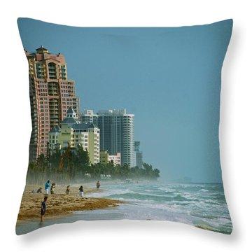 The Beach Near Fort Lauderdale Throw Pillow