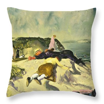 The Beach Newport Throw Pillow by George Wesley Bellows