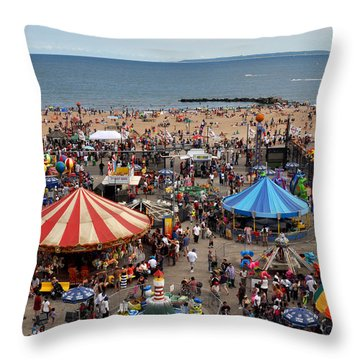 The Beach Of Coney Island From The Wonder Wheel Throw Pillow by Diane Lent